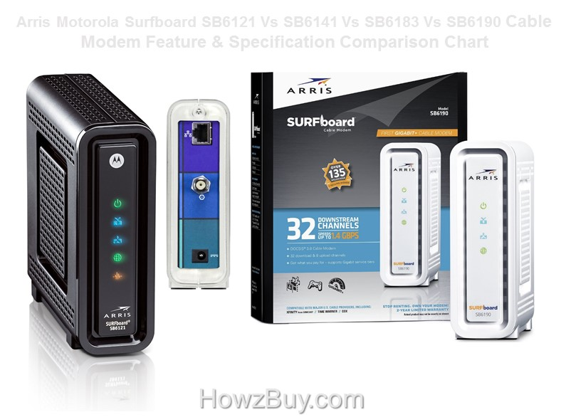 Arris Motorola Surfboard SB6121 Vs SB6141 Vs SB6183 Vs SB6190 Cable Modem Feature & Specification Comparison Chart
