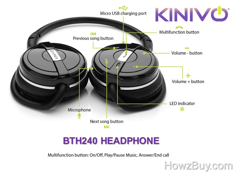 Multi-Function Button operations of Kinovo BTH240 Bluetooth Headphone