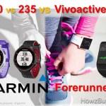 Garmin Forerunner 230 vs 235 vs Vivoactive HR Smartwatch Comparison