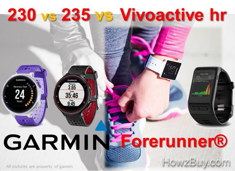 Garmin orerunner 230 vs 235 vs Vivoactive HR Smartwatch Comparison