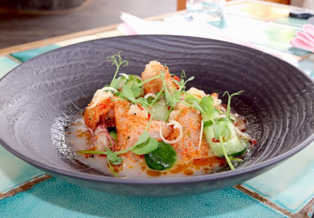 Chef Mendoza's ono crudo was inspired by a local fishing experience