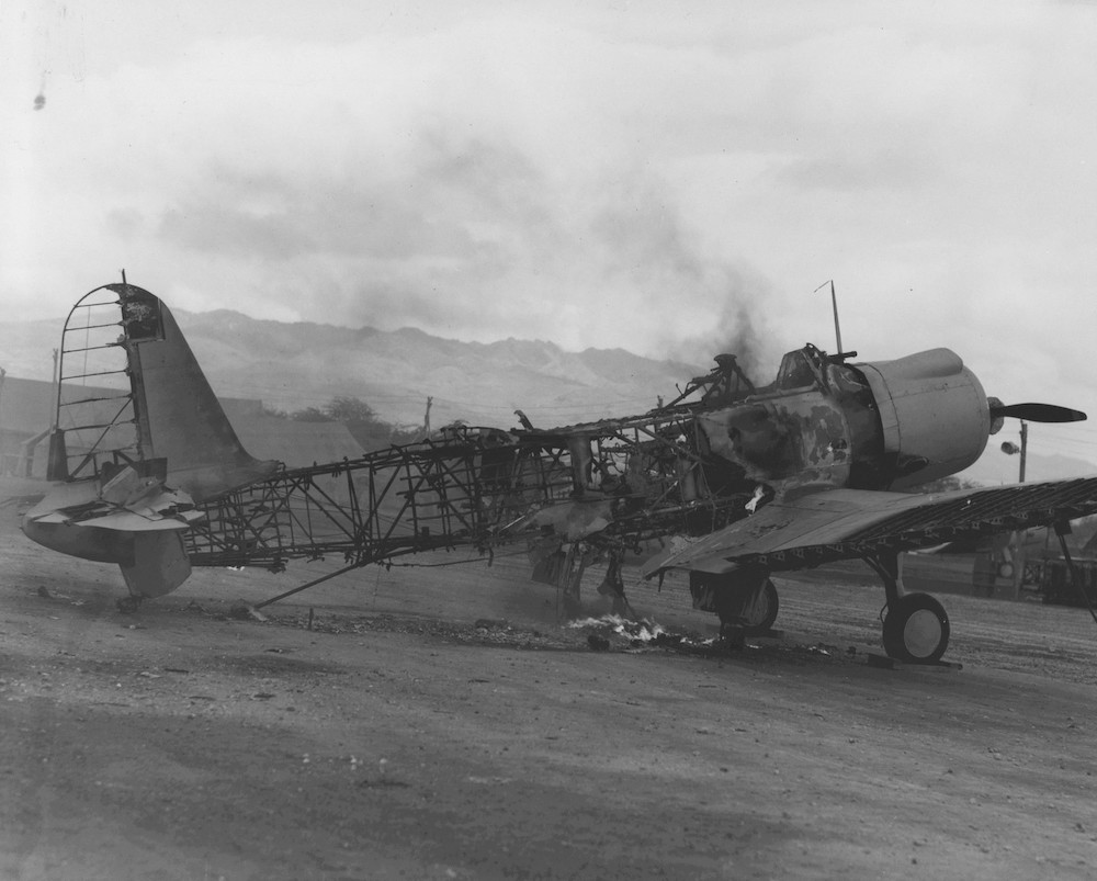 Destroyed SB2U Vindicator aircraft at Ewa Field, Oahu, US Territory of Hawaii, Dec 1941 ww2dbase