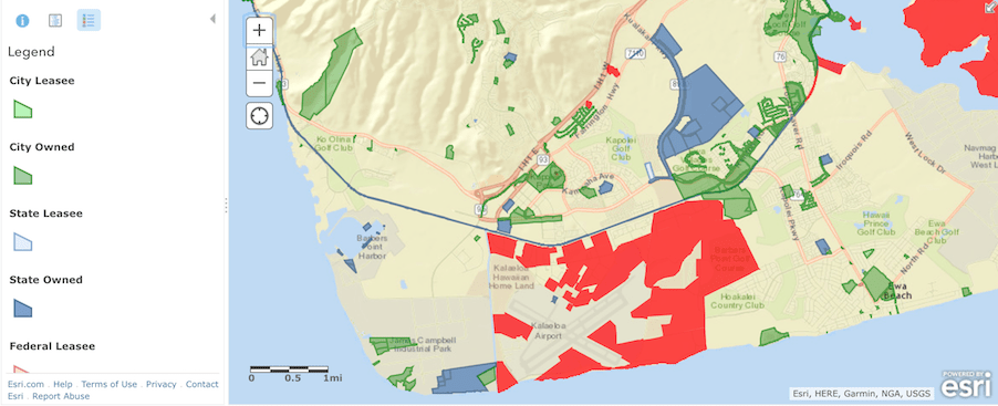 map showing land ownership on west side of oahu