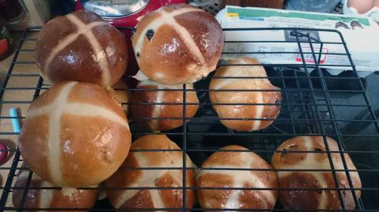 Hot cross buns on the cooling rack