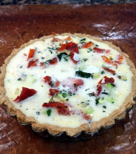 Courgette, feta, sun blushed tomato and thyme tart.