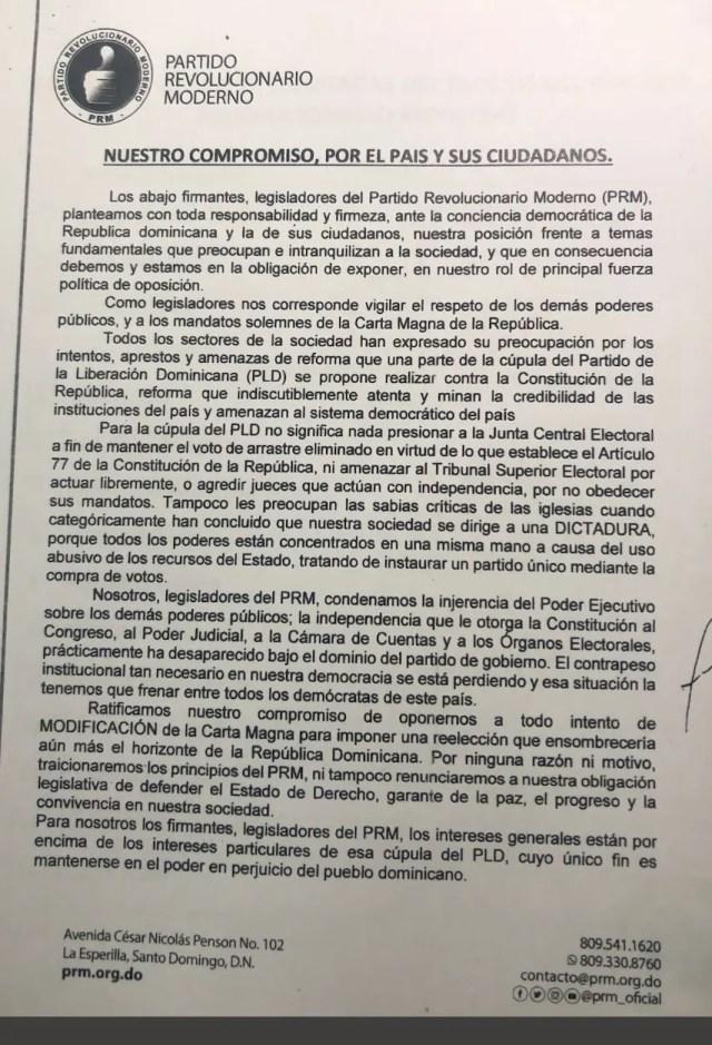 Documento legisladores PRM