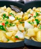 Bacalao con patatas en amarillo