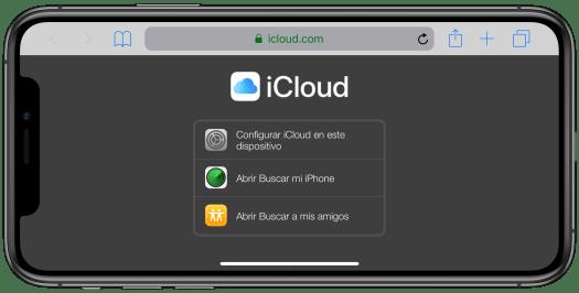 Vista de iCloud.com desde un iPhone
