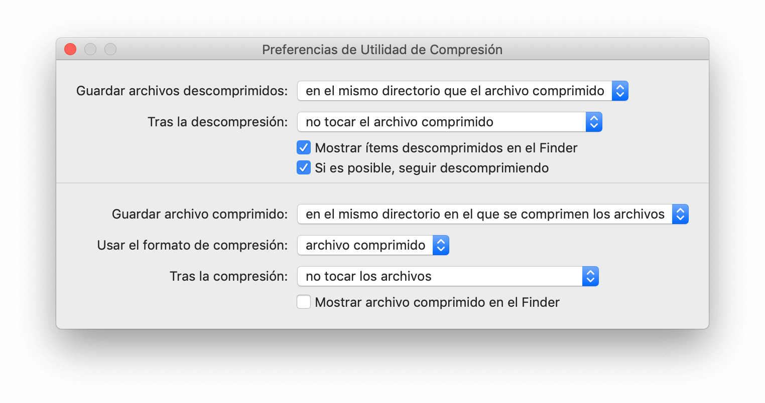 Preferencias Utilidad de Compresión