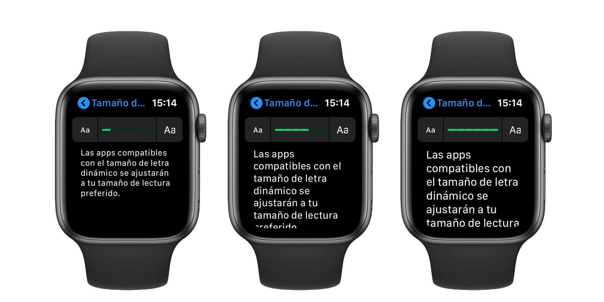 Tamaño texto Apple Watch