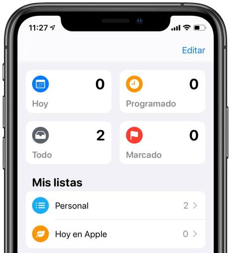 Recordatorios iOS 13
