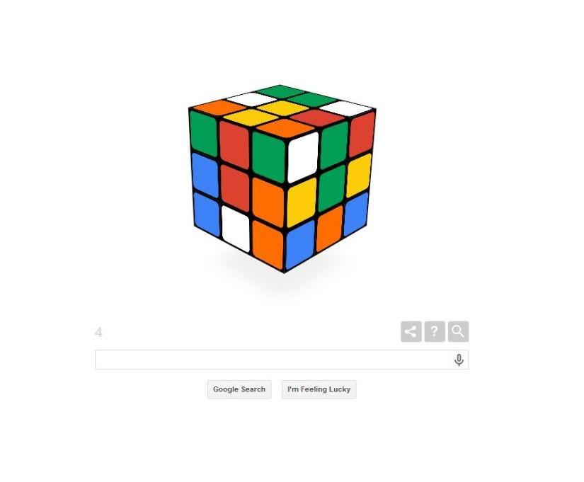 Nuevo Google Doodle El Cubo de Rubik cumple 40 anos..