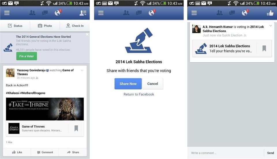 Facebook im a voter app usuarios