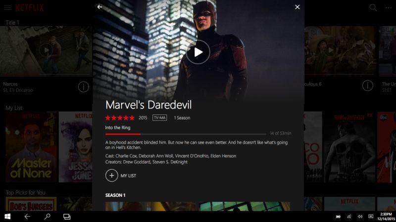 Netflix pantalla aplicacion windows 10