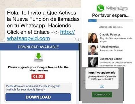 ScareWare Videollamadas de WhatApps mensajes