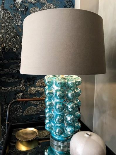 Hoyer & Kast Interiors Glas Tischlampe türkis