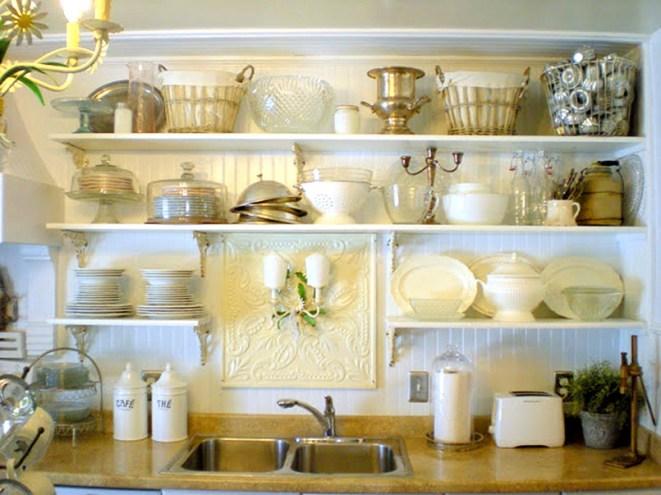 decoracion de cocinas con baldas y estanterias abiertas