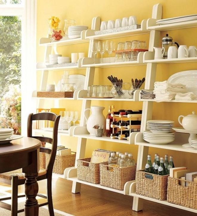 decorar con estanterias abiertas en espacios pequeños