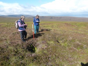 Mary Harris & Trish Avis recording a trench on Wee Fea
