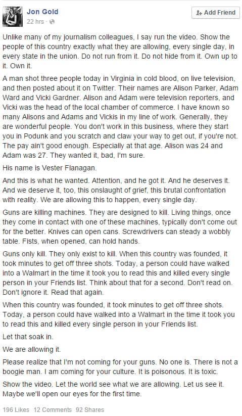 Arizona Daily Star reporter Jon Gold's Facebook post.