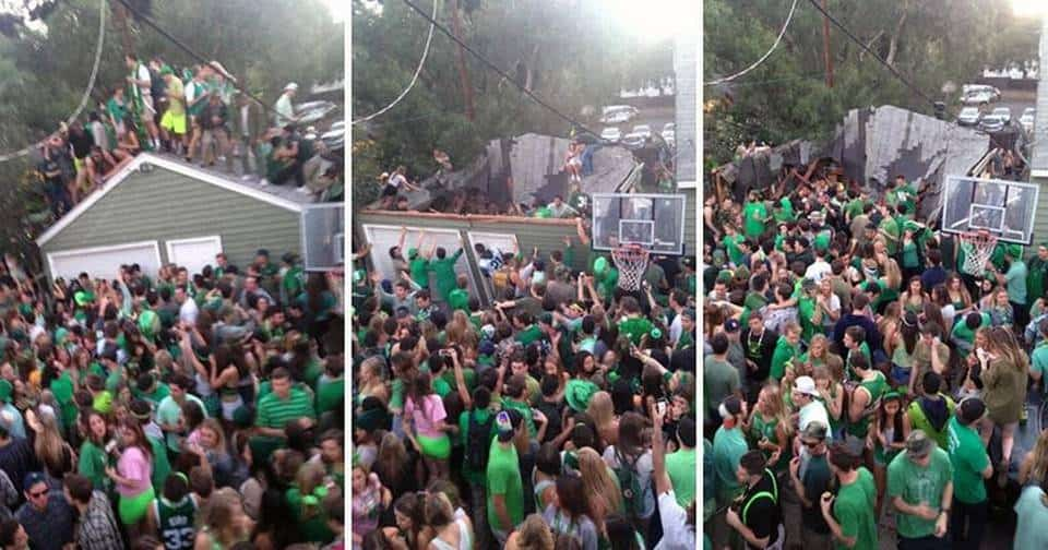 St. Fratty's Day party leads to a roof collapse. It was the one bit of stupidity editors would allow me to criticize, as no individual students were named.
