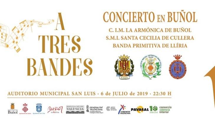 El concierto «A Tres Bandes» llega este sábado a Buñol