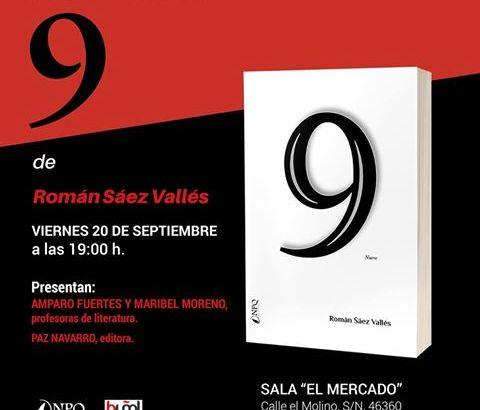 El buñolense Román Sáez presenta este viernes su libro «9» en la Sala El Mercado