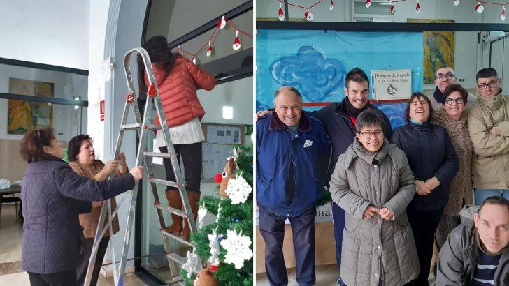 El Grupo Ganchillo Solidario y el Centro Ocupacional de Buñol adornan el vestíbulo del Ayuntamiento