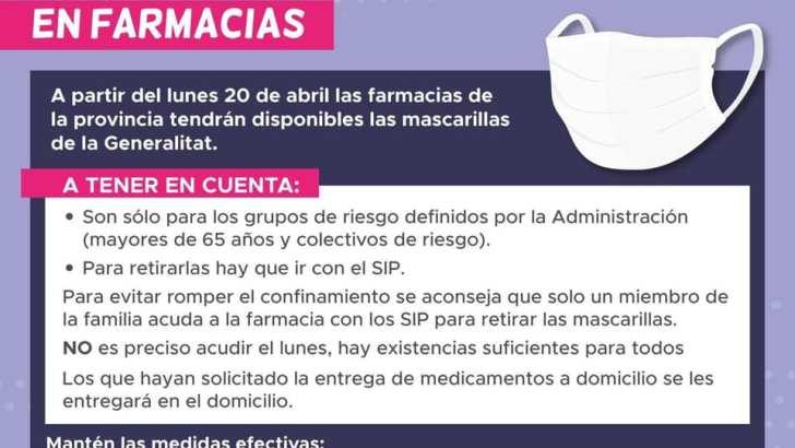 A partir de este lunes las farmacias entregarán mascarillas gratuitas a mayores de 65 años