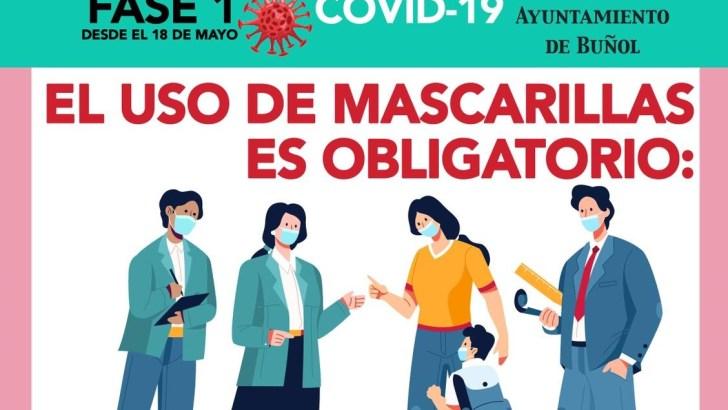 La Concejalía de Sanidad del Ayuntamiento de Buñol informa de la obligatoriedad del uso de mascarillas en toda la población a partir de 6 años