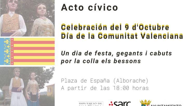 Alborache celebra el 9 d'octubre con música tradicional, gigantes y cabezudos
