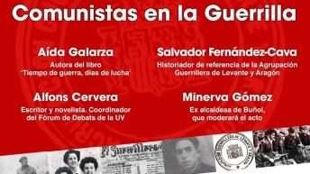El PCPV-PCE organiza un coloquio el próximo miércoles 20 de octubre a las 19 h. en la Sala «El Mercado» bajo el título «Comunistas en la Guerrilla»