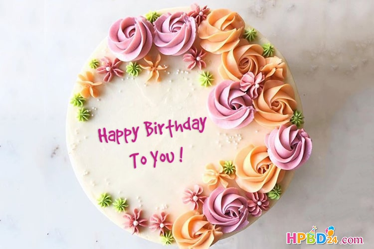 Beautiful Flowers Birthday Cake With Your Name