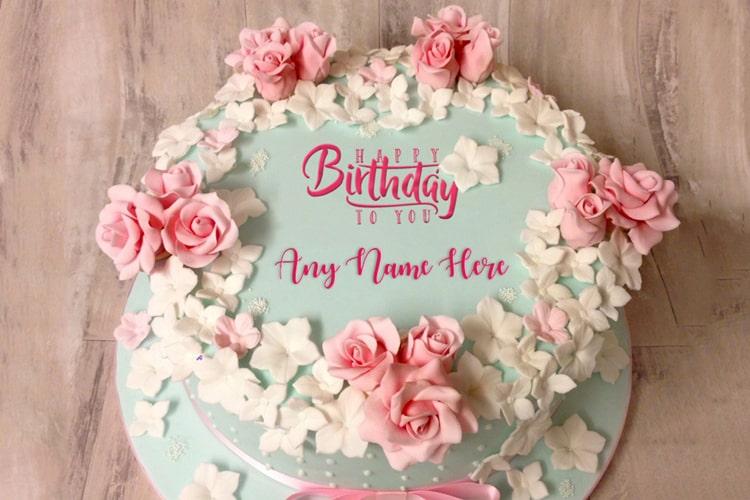 Easy Birthday Flower Rose Cake With Name Online