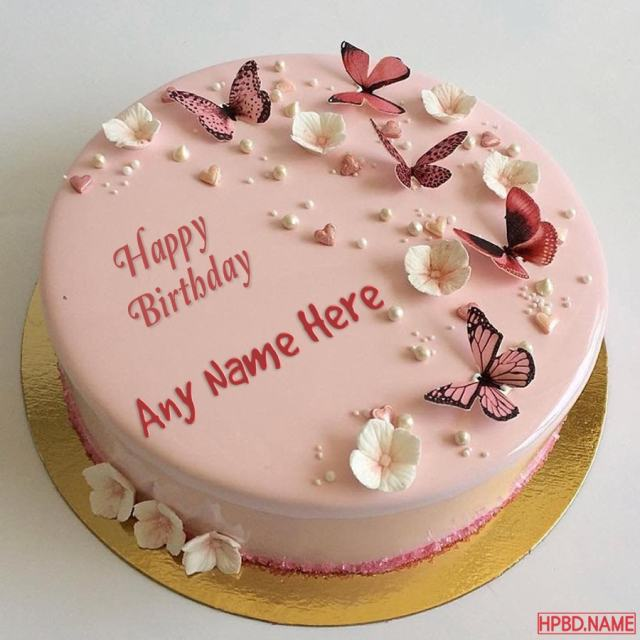Write Name On Butterfly Birthday Cake Images