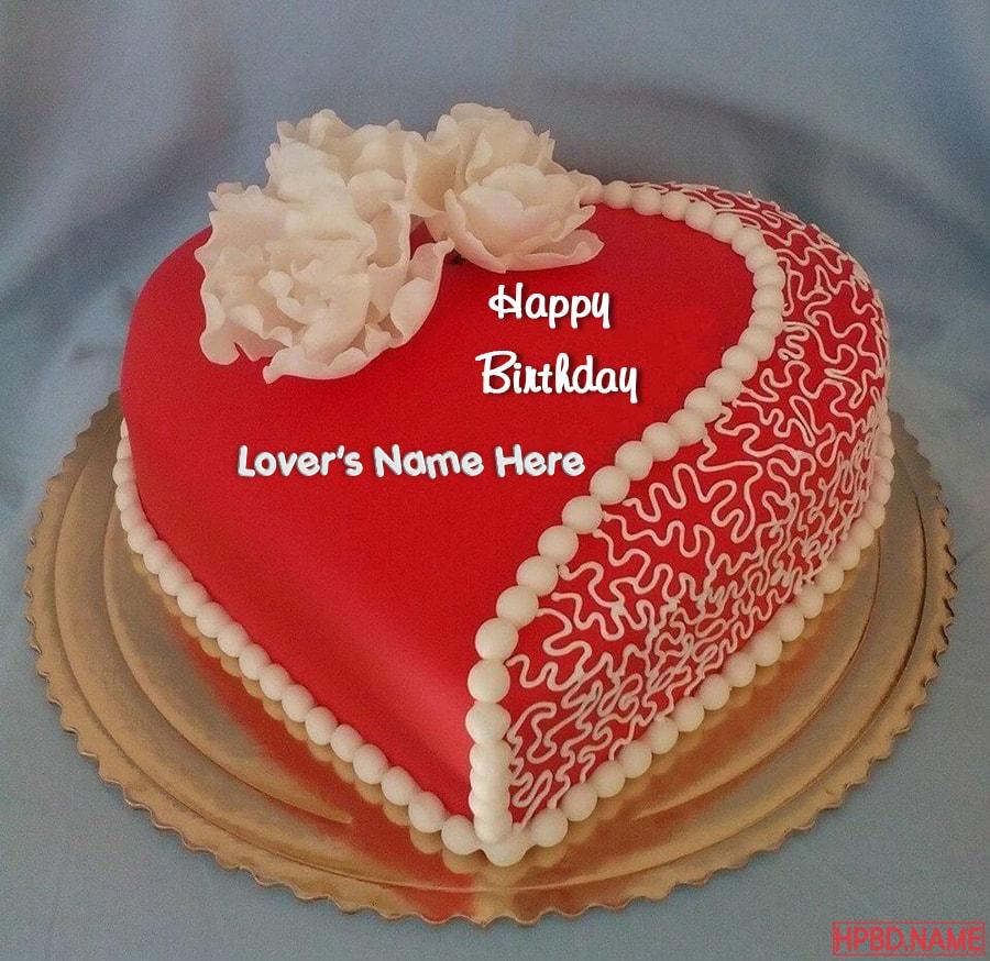 Write Name On Heart Love Birthday Cake Pic