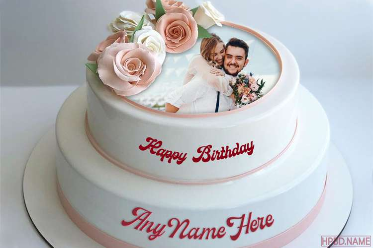 2 Tier Vanilla Flavored Birthday Cake With Name And Photo