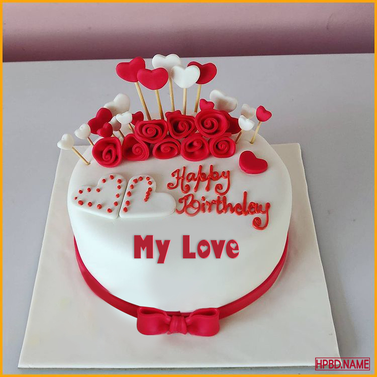 Happy Rose Birthday Cake With Name For Lover