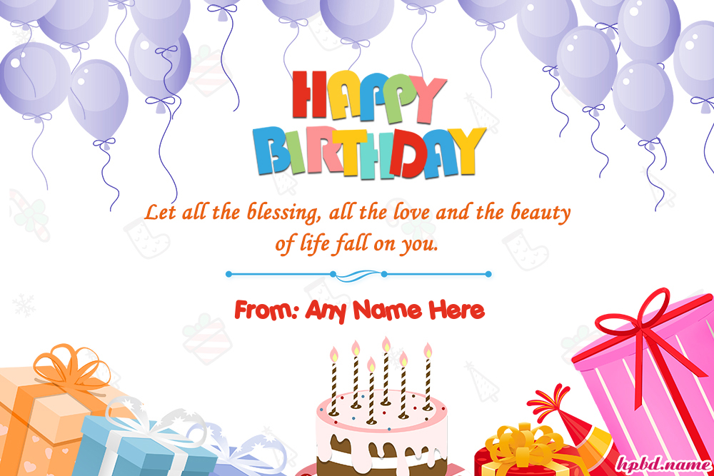 Free Happy Birthday Wishes Card With Name Editing