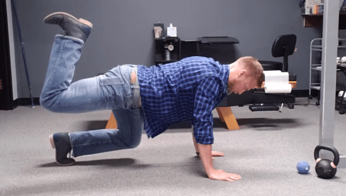 The beast crawl with glute hamstring activation helps connect the core to the hip and ultimately the knee for safety and stability