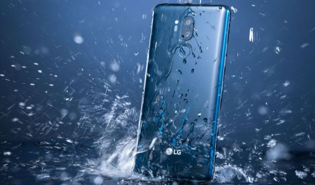 LG smartphone being soaked with water
