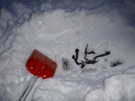 The lost snowshoe - just below the surface