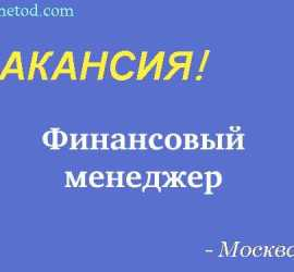 Вакансия - Финансовый менеджер - Москва