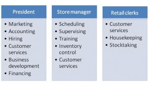 Example of responsibilities assigned to jobs