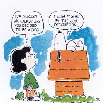 lucy and snoopy talk about job descriptions