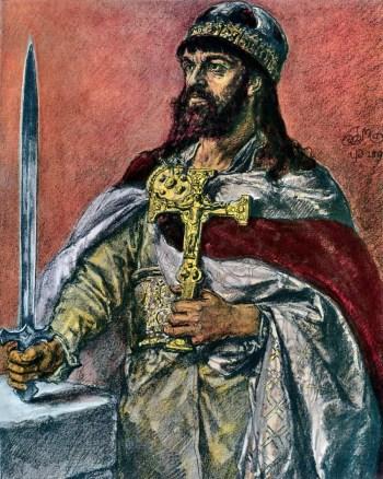 Portret brodatego mężczyzny o długich włosach, w bogatych szatach, z mitrą książęcą na głowie. W prawej ręce trzyma krótki miecz, a w lewej złoty krucyfiks