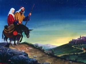 Мария и Иосиф идут в Вифлеем
