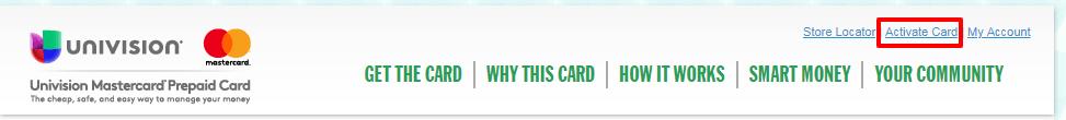 Univision Prepaid Mastercard active