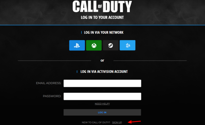 Call of Duty Monster Energy Sign Up