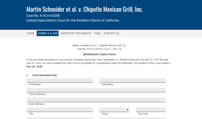 Chipotle Class Action Claim
